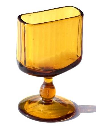 Photo Amber Depression Glass Holder for Matches, Cigarettes or Cards - $17 (Saratoga Springs)