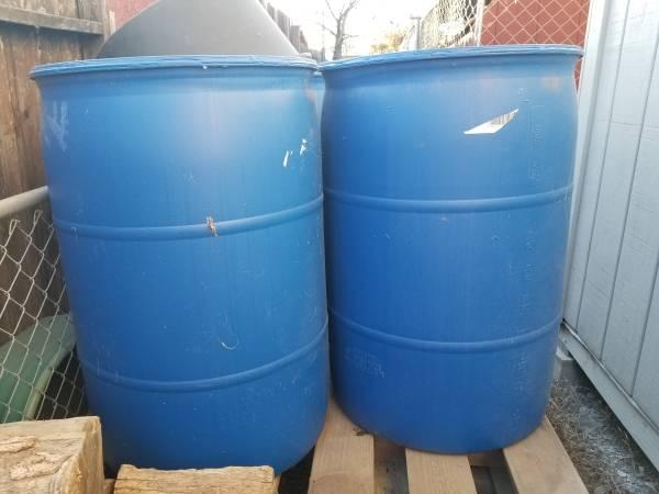 Photo 55 gal Rain barrels, storage barrels, etc - $30 (Plymouth)