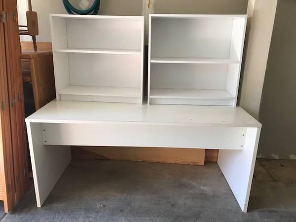 Photo Desk Table Bookcases (3) Piece - $55 (Meadow Vista)