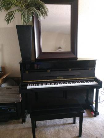 Photo George Steck Black Console piano...reduced - $600 (Fair Oaks)