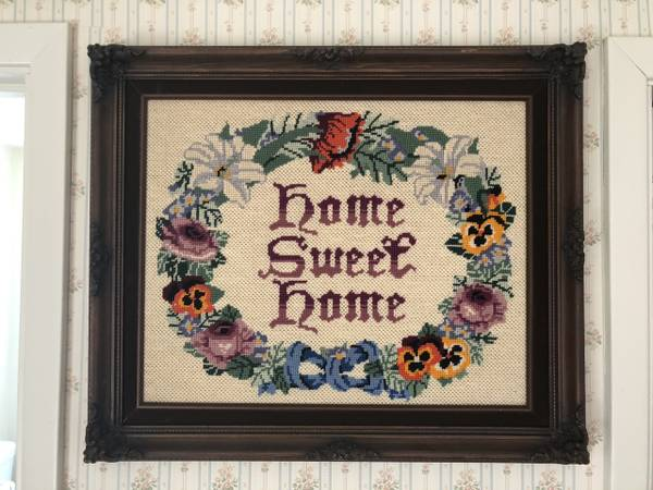 Photo Home Sweet Home Decorative Stitch Needlepoint in Custom Frame - $45 (Pollock Pines)