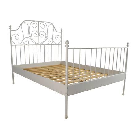 Photo Ikea Leirvik White Queen Metal Bed Frame - $50 (railroad flat)