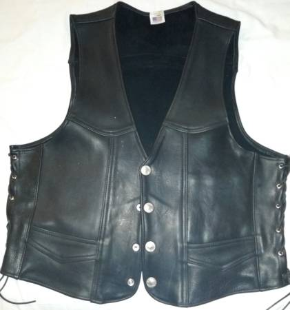 Photo XXL BLACK LEATHER VEST WITH SIDE LACES BUFFALO NICKEL SNAP-ON BUTTONS - $75 (Sonora)