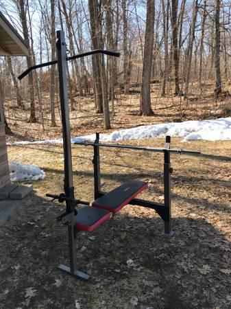 Photo Weider Pro weight bench and weights - $125 (McGregor)