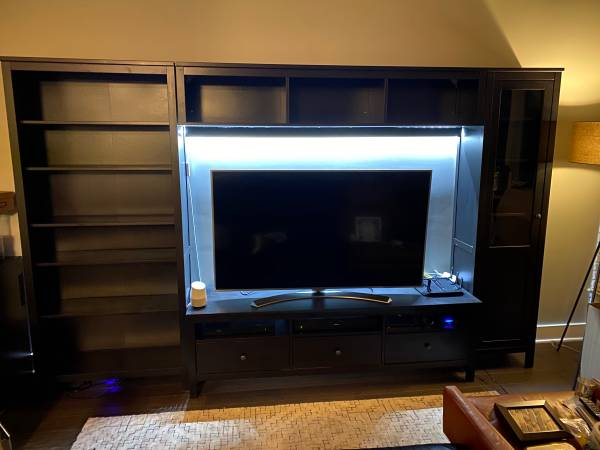 Photo IKEA HEMNES Entertainment Center, Glass front cabinet, bookshelf - $190