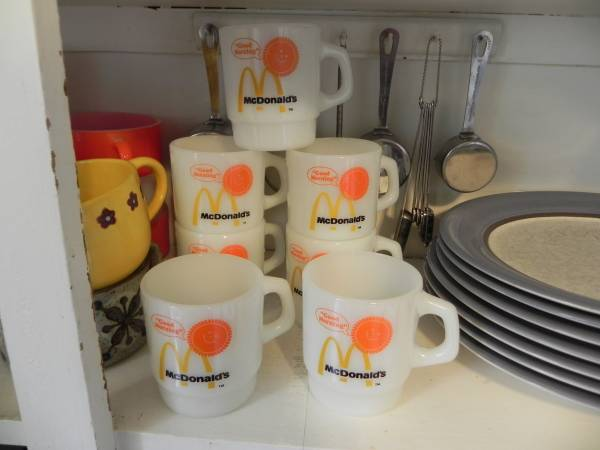 Photo Set of seven McDonalds Fire King Stacking Mugs - $75 (grandville)