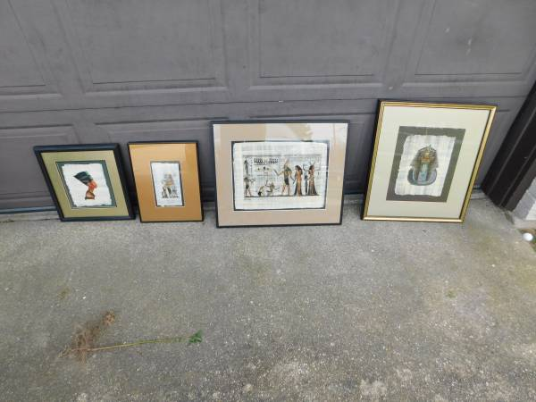 Photo Vintage Egyptian Delta Papyrus Framed Paintings set - $75 (Wyoming)