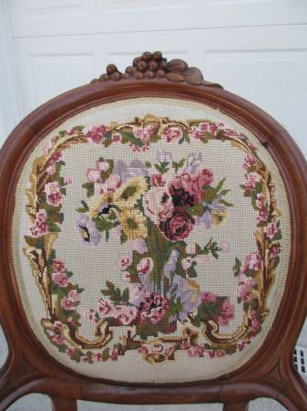 Photo Vintage Victorian Style Needlepoint Chair - $195 (Grand Rapids)