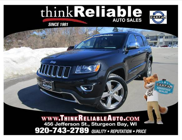 Photo 2014 JEEP GRAND CHEROKEE LIMITED LOCAL TRADE NEW TIRES MOON NAV TOW PK - $18500 (STURGEON BAY)