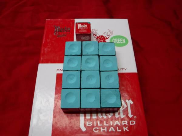 Photo Green Master Chalk Pool Cue Billiards 12 Pieces Dozen NEW - $5 (Green Bay)