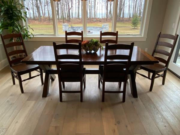 Photo Pottery Barn dining table and chairs - $1,995 (Dyckesville)