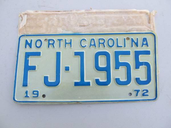Photo 1972 NORTH CAROLINA LICENSE PLATE NEW STILL IN THE WRAPPER - $20 (GrahamBurlington)