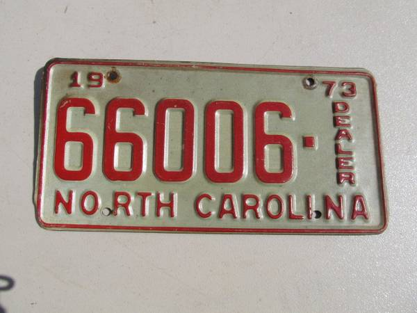 Photo 1973 NORTH CAROLINA DEALER TAG - $20 (GrahamBurlington)