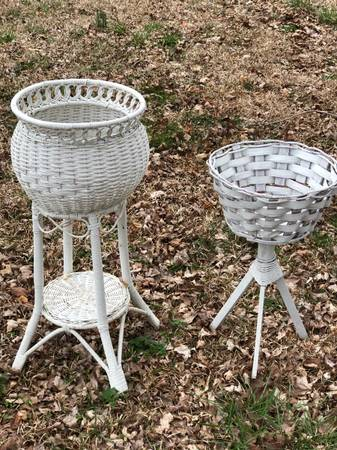 Photo 2 Shabby Chic Vintage White Wicker Plant Stands - $20 (Graham)