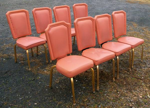 Photo 8 Pink (Rose) and Gold Restaurant Chairs HEAVY DUTY Used - $150 (Lexington NC)