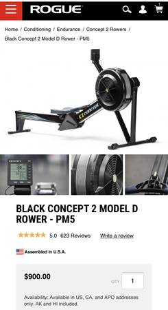 Photo Black Concept 2 Rower  Model D  PM5  CrossFit - $825 (Greensboro  Oak Ridge)