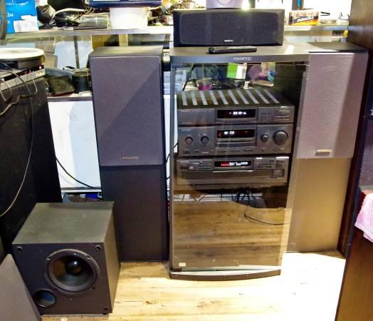 Photo Gray Kenwood Comp 5.1 Surround System w Speakers GlassFront Rack Sub - $300 (Lexington NC)
