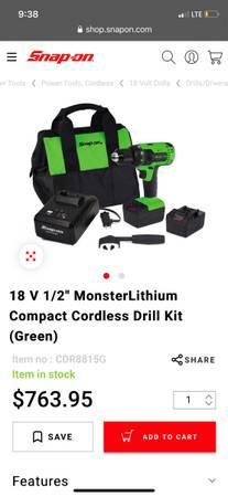 Photo Snap on Monster 12 impact  Hammer Drill - $950 (Greensboro)