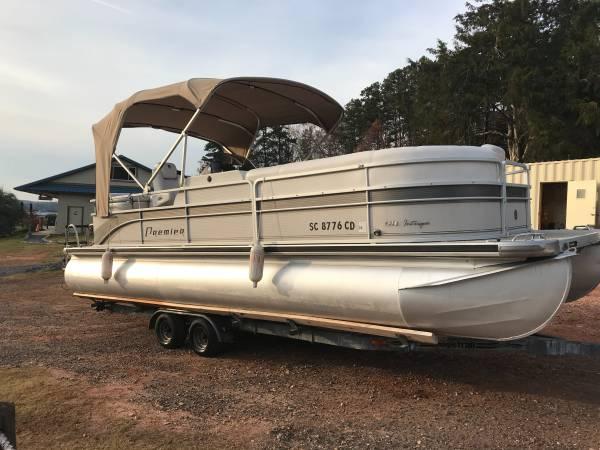 Photo 2007 2439 Premier pontoon boat with 115 HP Honda and Galvanized trailer - $17,995 (Seneca)