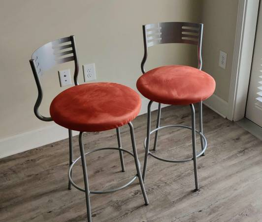 Photo 2 Bar Stools in Burnt Orange - $40 (Greenville)