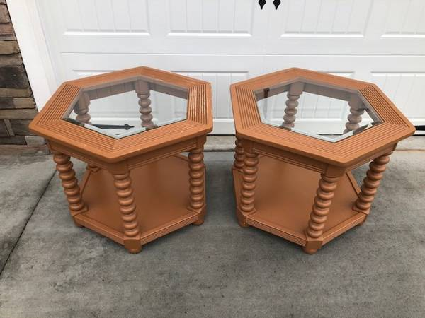 Photo End Tables, Solid Wood, Beveled Glass - $80 (Greer)