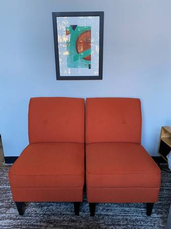 Photo George Armless Chair Vibrant Orange - Set of 2 Accent Chairs - $75 (Greenville)