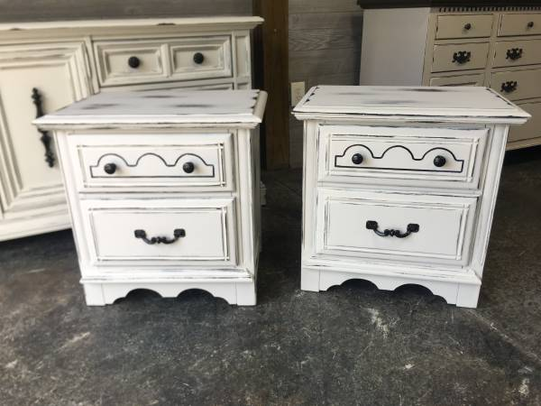 Photo Pair of matching nightstands--white distressed - $249