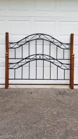 Photo Queen Size Black Metal  Cherry Wood Bed Frame - $300