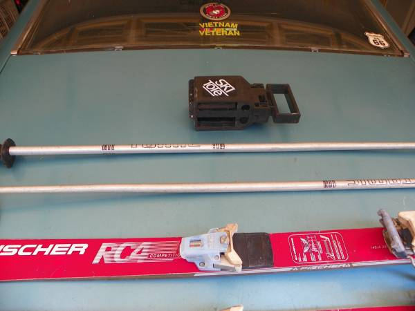 Photo Set of Fisher 140cm Snow Skis With Accesories - $22 (Exit 60, I-85, Duncan, SC.)