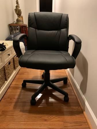 Photo desk chair - black leather - $60 (Piedmont)