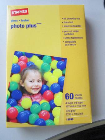 Photo NEW Staples Photo Plus Paper 4 x 6 - Gloss Finish - $5 (Colonial Park)