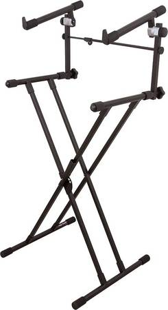 Photo On-Stage Stand 2-Tier Keyboard Stand Mixer Power Amp Gear Pedal (Cross Keys New Oxford)