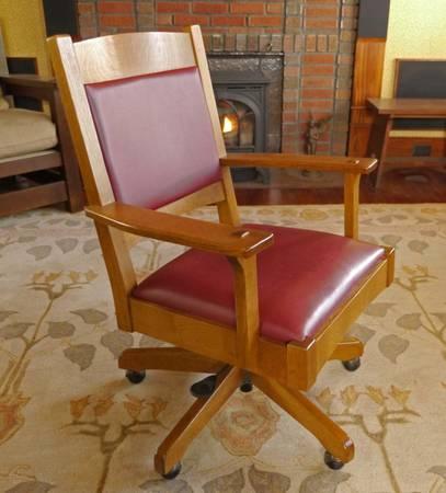 Photo Stickley Cottage Mission Oak Desk Chair with Leather Back - $375 (Altoona)