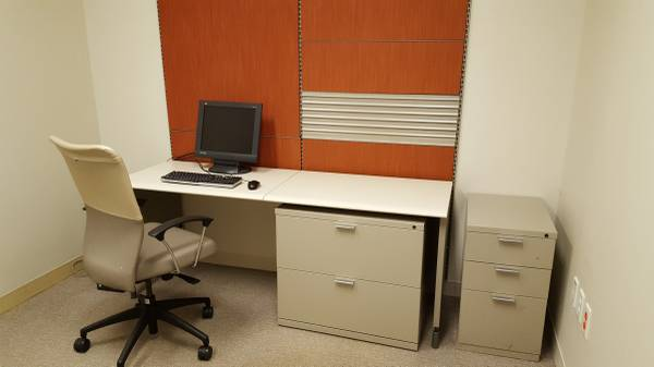 Photo HERMAN MILLER MODERN DESK LATERAL FILE CABINET AND PIN BOARD - $195 (NEW MARKET VA)