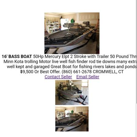 Photo 16Ft Bass Boat For Sale - $9,500 (Cromwell)