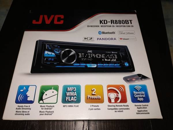 Photo Brand New In-Dash CDMP3 USB BT Car stereo receiver JVC KD-R880BT - $55 (Plainville)