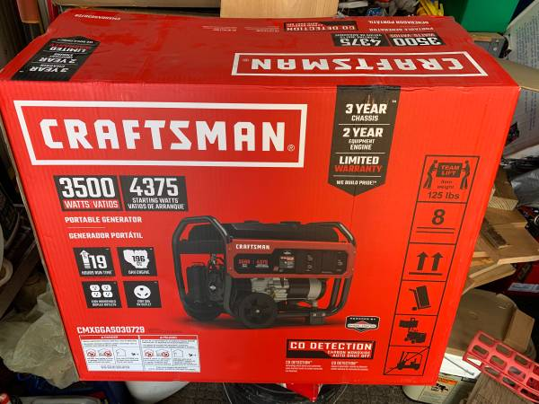 Photo Craftsman Portable Generator 3500  4375 Watts - $425 (Meriden, CT)