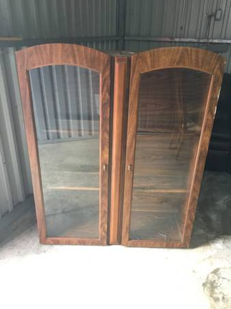 Photo Free Wood Curio Case  Display Cabinet w Double Glass Doors and Light (Clinton)