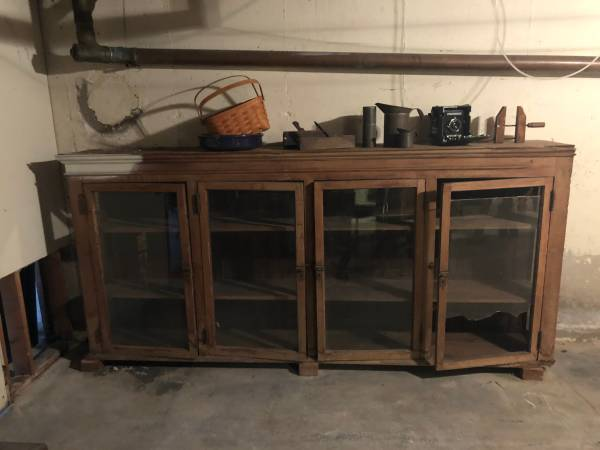 Photo Free wood server cabinet with glass doors (sideboard, cupboard)