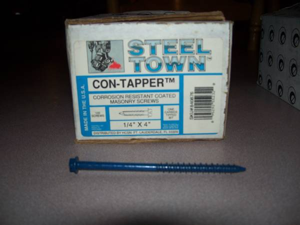 Photo Masonry Concrete Screws (Boxes of 100 each) 1 4 Inch Dia 2 34quot to 4quot - $14 (Enfield)