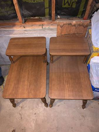 Photo Pair of Mersman 2-1 Formica end tables. - $110