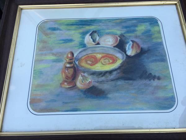 Photo Pastel Art Work Cooking Still Life Eggs, Shells, Salt Shaker - $40 (Middletown)