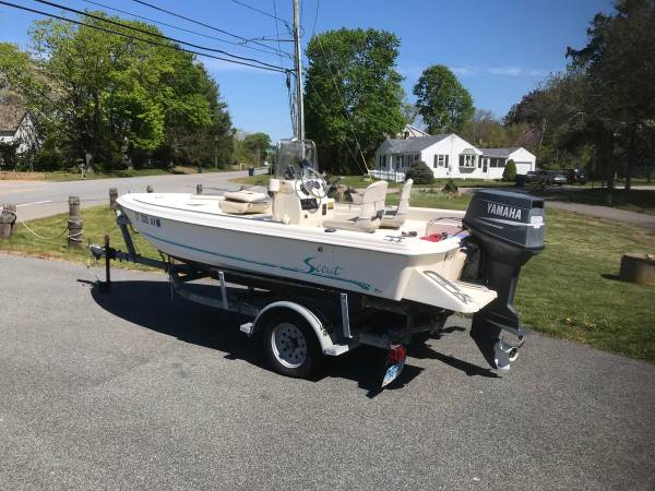Photo scout center console 155 SPO boat 60HP Yamaha- trailer - $6,500 (Old Lyme)