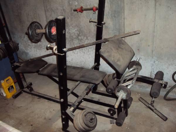 Photo weider weight bench workout barbell - $100 (willington)