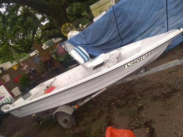 Photo 14 ft Avalon Jon boat good trailer and loose 35hp mercury - $1,000 (Pensacola)