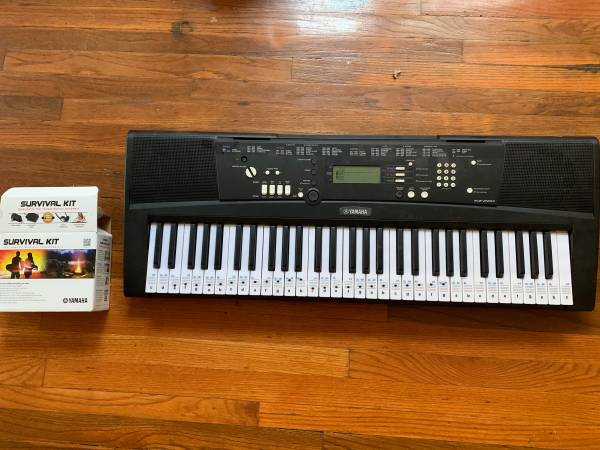 Photo Yamaha EZ220 Beginner keyboard  Yamaha Survival Kit - $180 (Holly grove)
