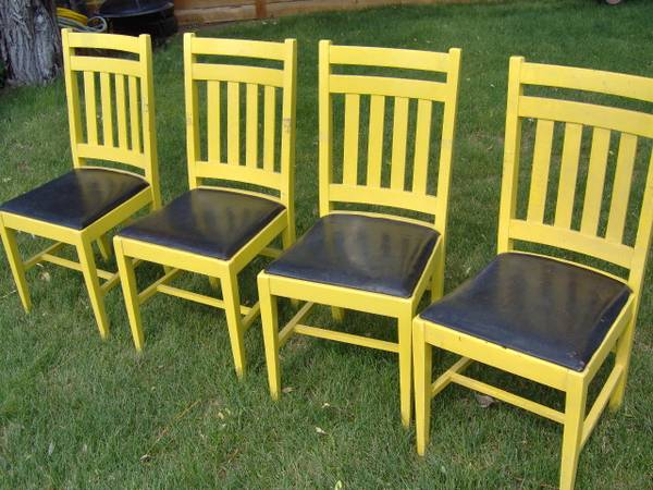 Photo 4 Neat Old Wood and Leather Kitchen Chairs Antique yellow  black - $80 (East Helena)