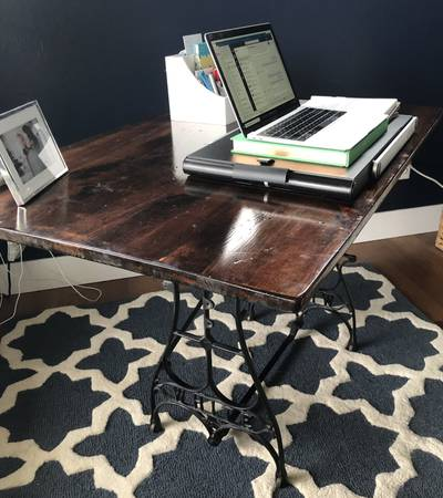 Photo Antique Cast Iron White Sewing Table Desk - $135 (Helena, MT)