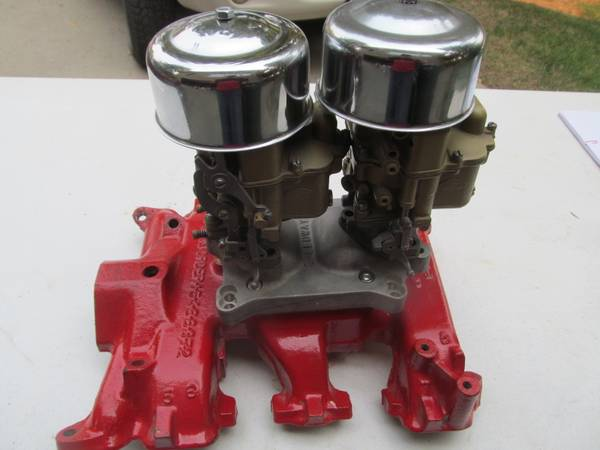Photo VINTAGE Y BLOCK MANIFOLD DUAL FORD 94 CARBS SPEEDWAY ADAPTER 272 292 3 - $350 (Helena)