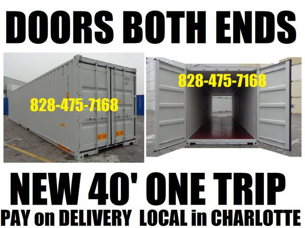 Photo DOUBLE DOORS on BOTH ENDS conex container storage shed containers PODS (LOCAL IN CHARLOTTE)
